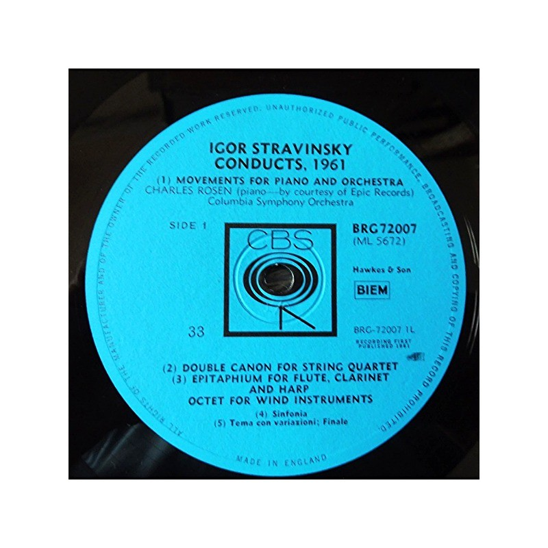 STRAVINSKY, IGOR 1961 Conducts : movements for piano, double canon, epitaphium for flute, octet for winds,