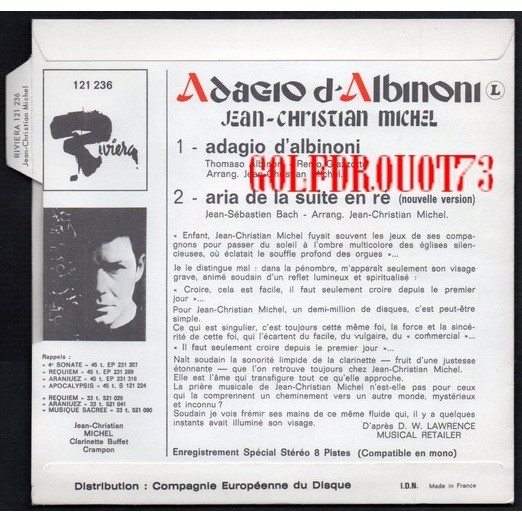 JEAN CHRISTIAN MICHEL ADAGIO D'ALBINONI - ARIA DE LA SUITE EN RE ( NOUVELLE VERSION )