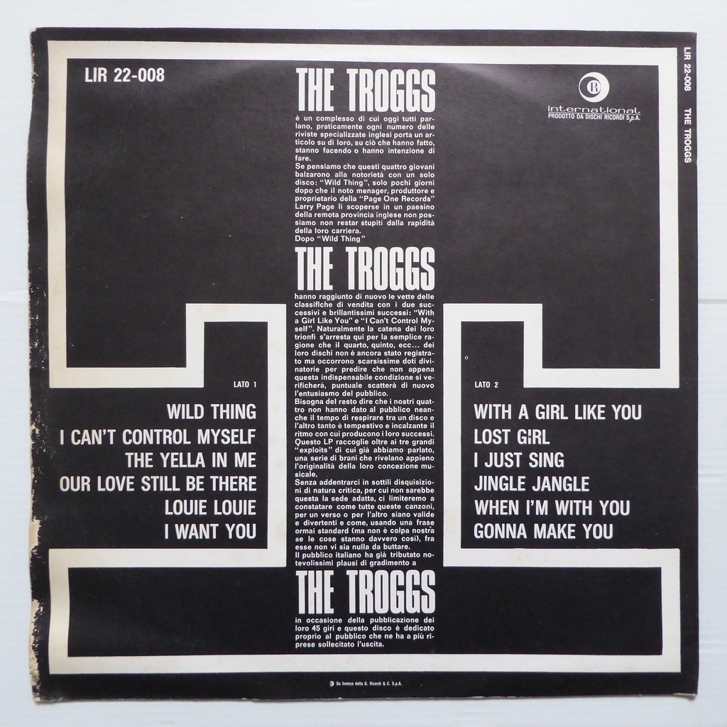 Wild Thing With A Girl Like You By Troggs Lp With