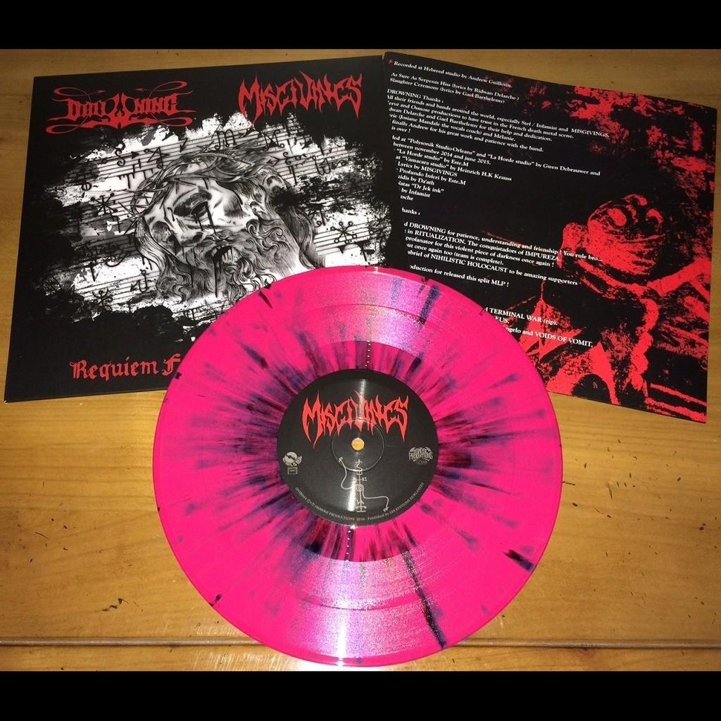 DROWNING / MISGIVINGS Reqviem for Gods Perdition. Splatter Vinyl