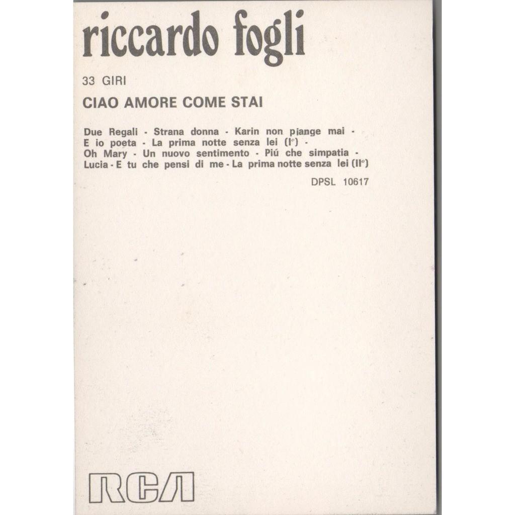 Ciao Amore Come Stai Italian 1973 Original Rca Album Release