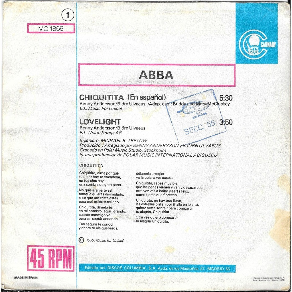 abba chiquitita ( cantado en espanol )