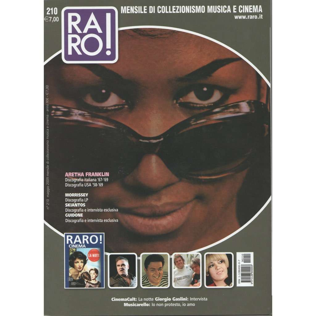 Aretha Franklin RARO! (N.210 May 2009) (Italian 2009 Aretha Franklin front cover collector's magazine)