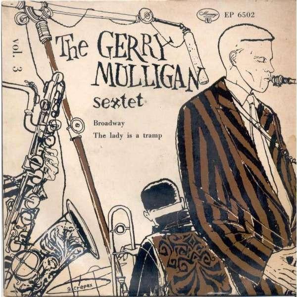The Gerry Mulligan Sextet / Guido Crepax Broadway (Italian 60s 2-trk 7EP great laminated 'Crepax' ps)