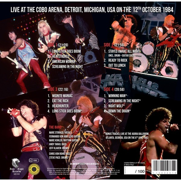 Krokus Live at the Cobo Arena, Detroit, Michigan, USA on the 12th October 1984 (2xlp)