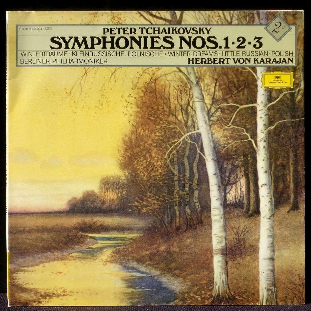 tchaikovsky symphonies 1  2  u0026 3 karajan 2 x lp nm  nm   u0026 cv nm by tchaikovsky symphonies 1  2