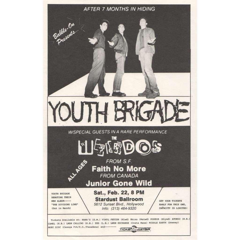 Youth Brigade / Weirdos / Faith No More / Junior G Stardust Ballroom Sat. FEB. 22 8pm (Usa 80s original promo concert poster punk flyer!!)