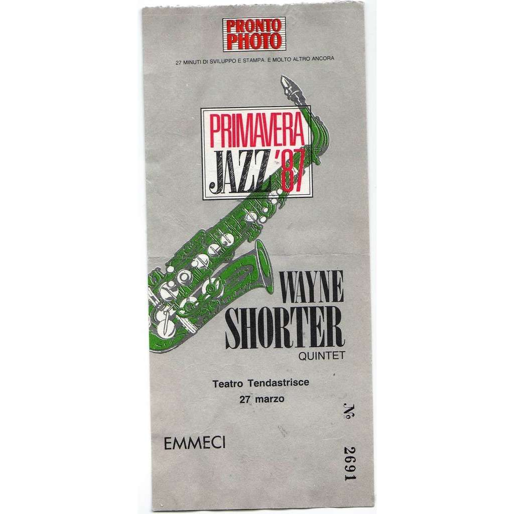 Weather Report / Wayne Shorter Tendastrisce Roma 27.03.1987 (Italian 1987 original concert ticket!!)