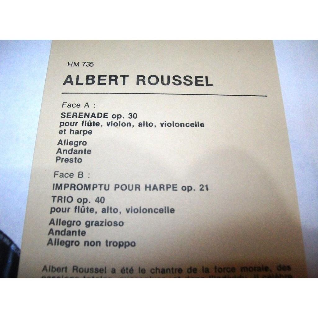 quintette marie-claire jamet albert-roussel - sérénade op. 30 / impromptu pour harpe / trio op. 40