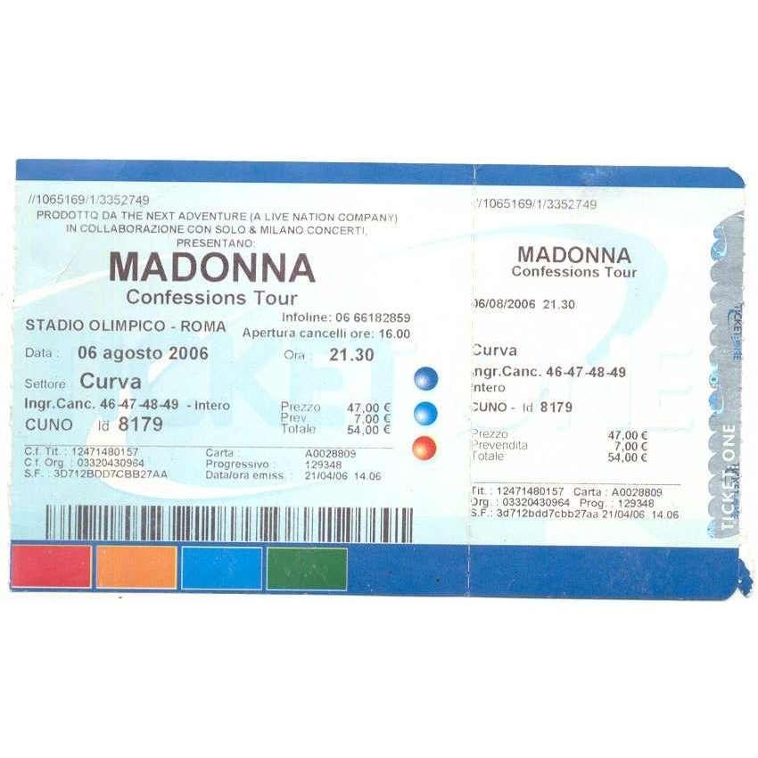 Madonna Stadio Olimpico - Roma 06.08.2006 (Italian 2006 original concert ticket!!)