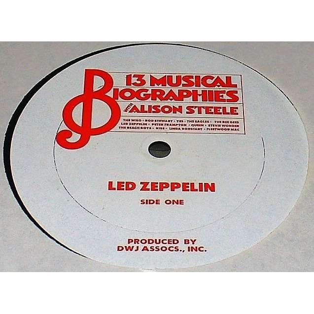 Led Zeppelin 13 Musical Biographies with Alison Steele (USA 80s original'DWJ Associates Inc.'promo LP Radio Show)