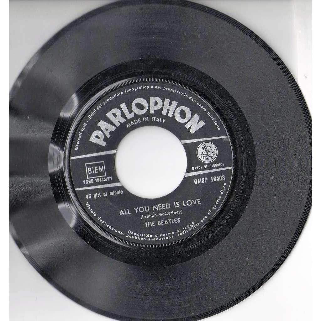 Beatles All you need is love (Italian 1967 2-trk 7single on Parlophon lbl)