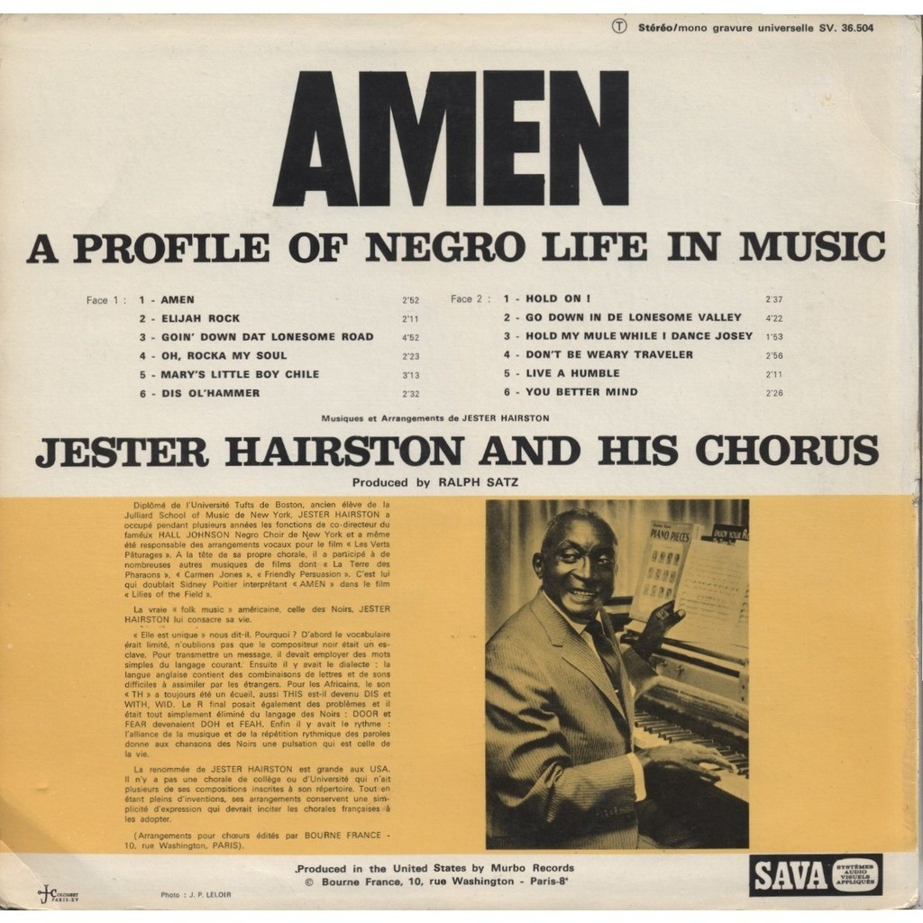 JERSTER HAIRSTON and his Chorus Amen - Elijah Rock - Oh, Rocka My Soul (ORIGINAL - FRENCH / Different Cover) + CD-R