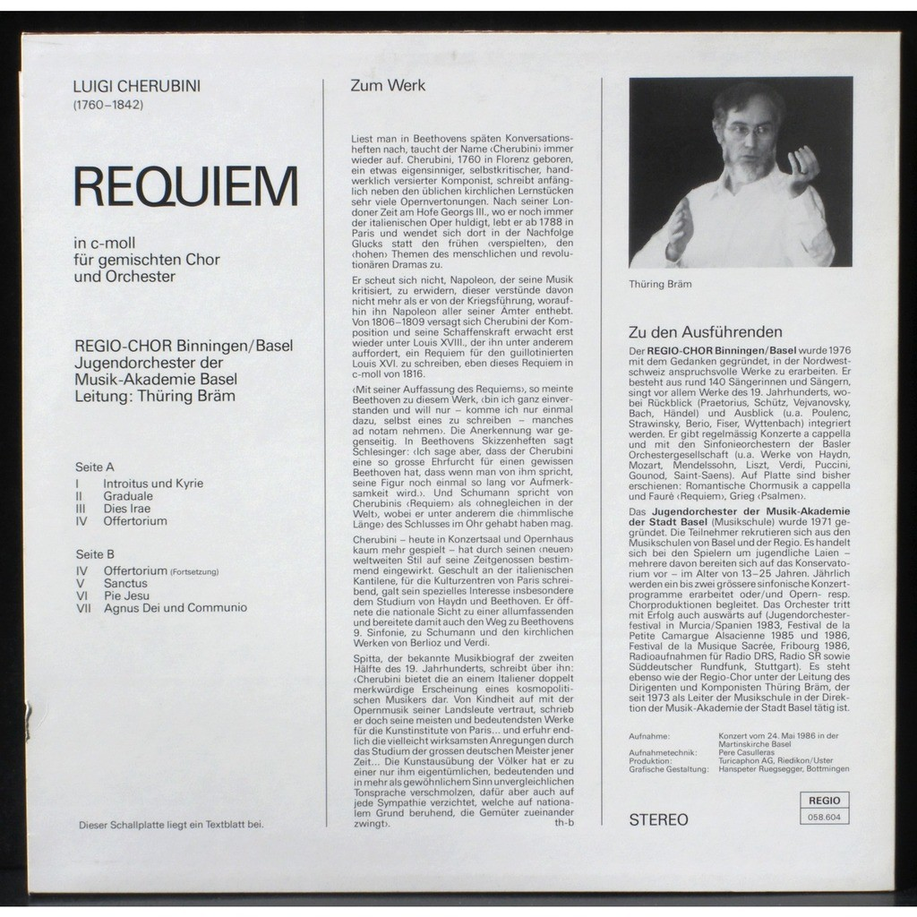Cherubini requiem thüring bräm turicaphon 1986 lp m, cv nm by ...