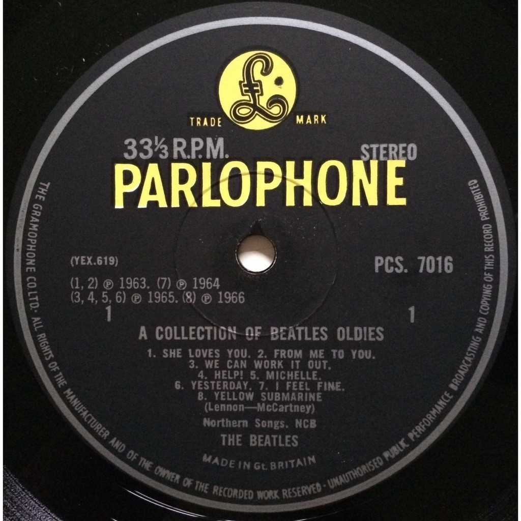 BEATLES - A COLLECTION OF BEATLES OLDIES (RARE U.K. 2nd ISSUE 12 VINYL LP YELLOW PARLOPHONE FRONT LAMINATED FLIPBACK COVER COMP. W/INNER)
