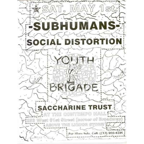 Subhumans / Social Distortion / Youth Brigade / Sa Contempo Hall Sat. May 1st (USA 80s promo poster Concert flyer!!)