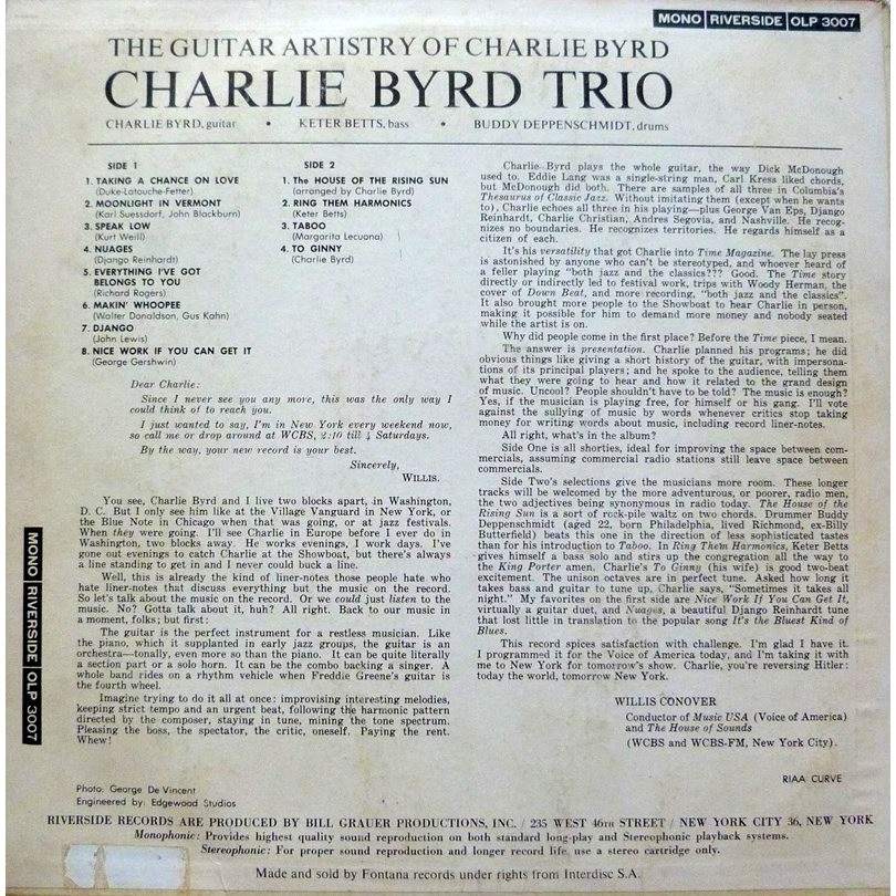 CHARLE BYRD TRIO THE GUITAR ARTISTRY OF CHARLIE BYRD