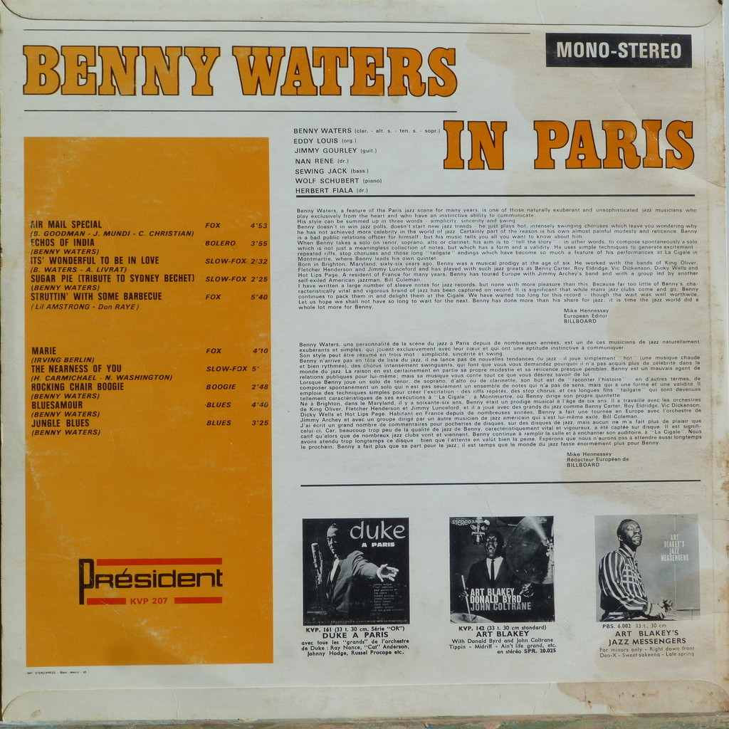 B.WATERS, EDDY LOUIS, JIMMY GOURLEY, ... BENNY WATERS IN PARIS (Dédicacé)