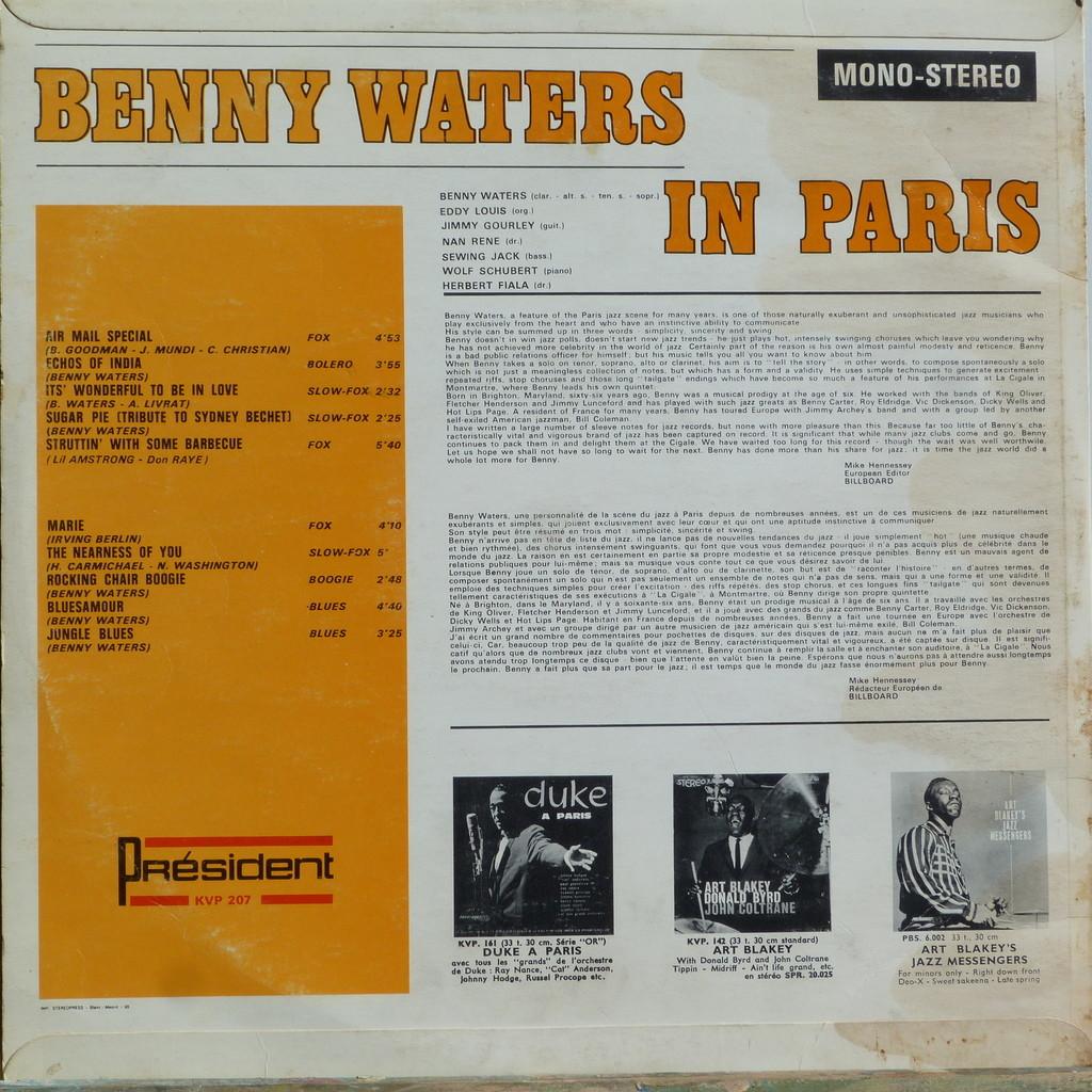 B.WATERS, EDDY LOUIS, JIMMY GOURLEY, ... BENNY WATERS IN PARIS (Dédicacé)