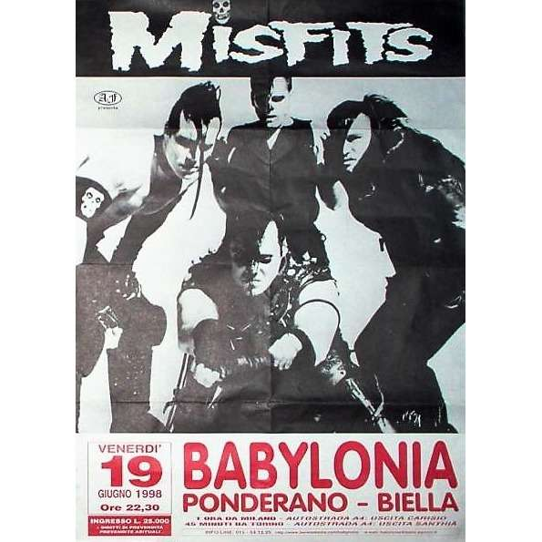 The Misfits Babilonia - Ponderano Biella 19.06.1998 (Italian 1998 original concert promo poster)
