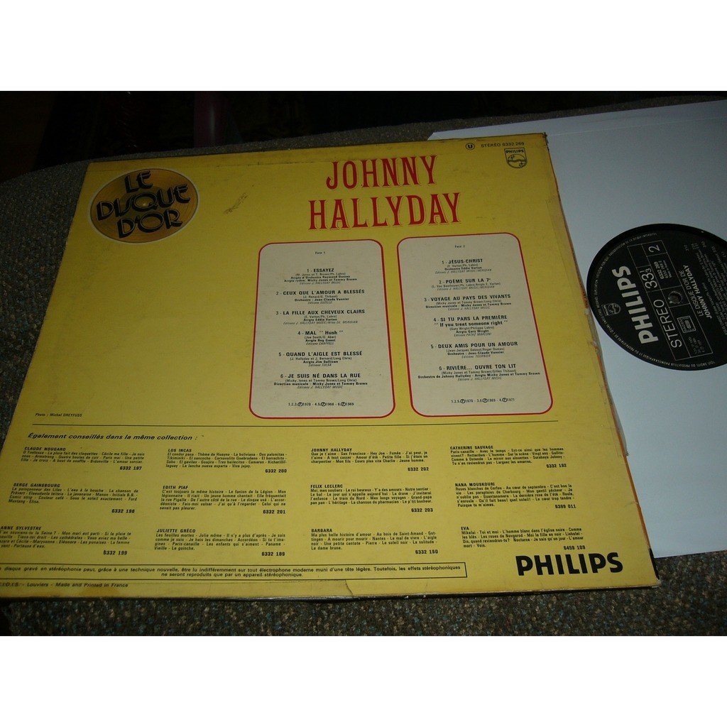 johnny hallyday Johnny Hallyday le disque d'or pressage france