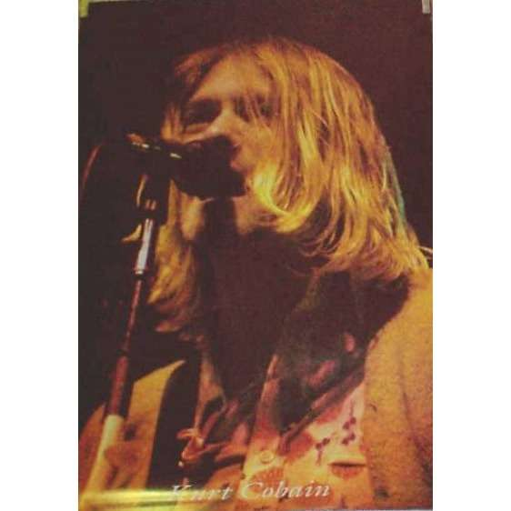 Nirvana Kurt Cobain (Italian 90s original 'Glamour International' large size Kurt live shot Poster)