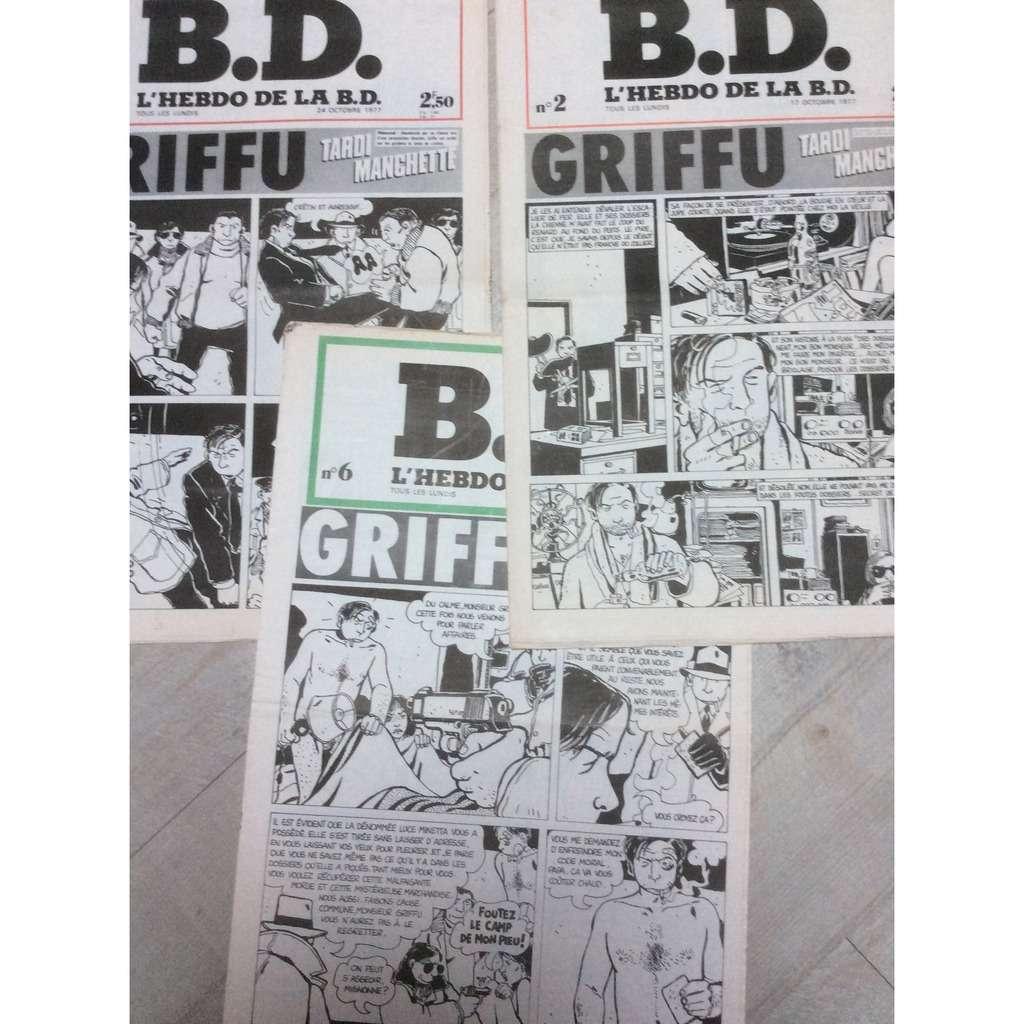 B.D. Lot de 3 numéros de B.D., l'hebdo du Polar : N°2/3 & 6 (Griffu-Tardi-Manchette) 1977