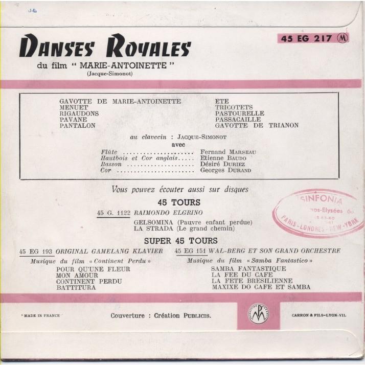 JACQUE-SIMONOT, ensemble instrumental clavecin Danses Royales du film Marie Antoinette reine de France (de Jean Delanoy avec Michèle Morgan)