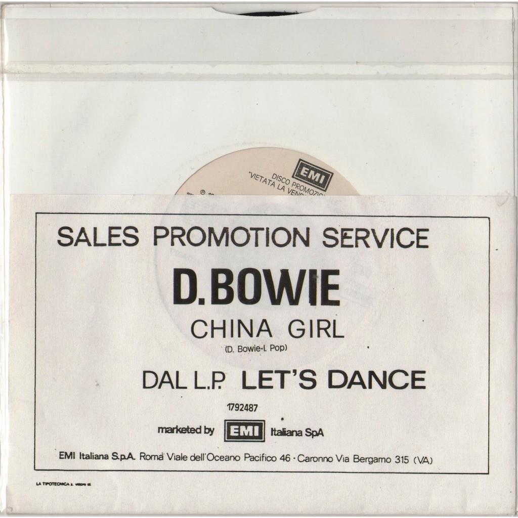 David Bowie / Iggy Pop China Girl (Italian 1983 1-trk w/label DJ Radio 7single promo unique Radio network ps title sticker)