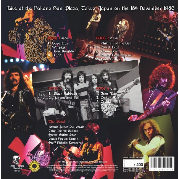 Black Sabbath Live at the Nakano Sun Plaza, Tokyo, Japan on the 18th November 1980 (2xlp)