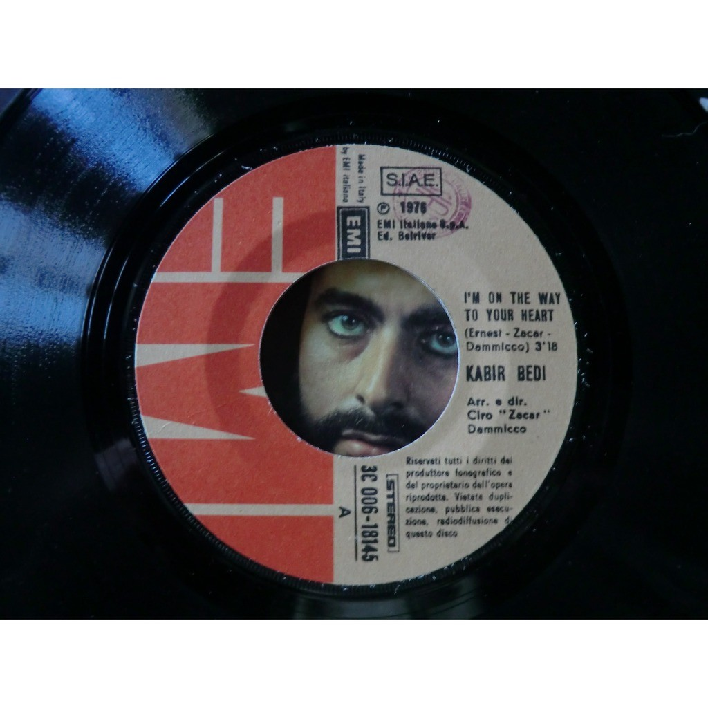 Bedi KABIR (SANDOKAN) I'm on the way to your heart (Cover is French press but record is Italia press - 1976)