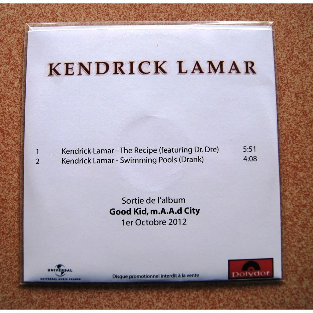 kendrick lamar THE RECIPE + SWIMMING POOLS
