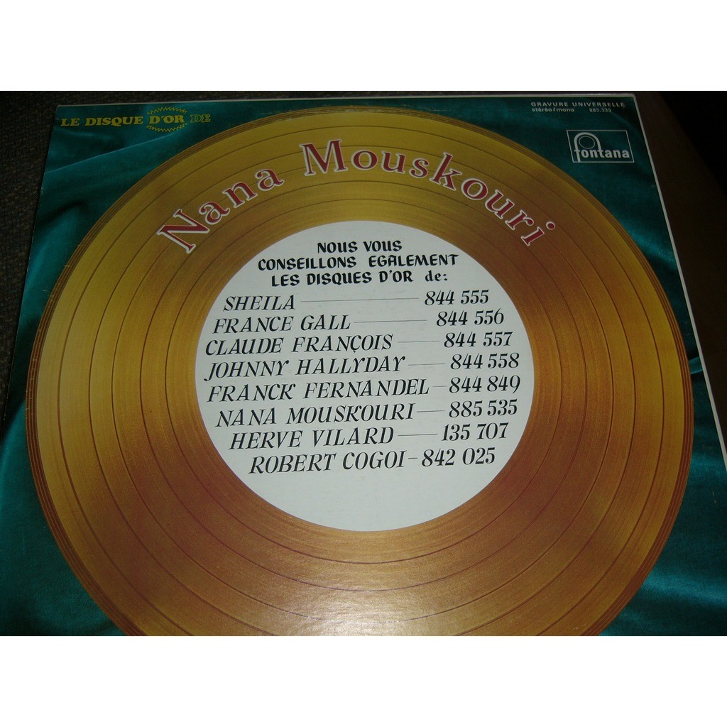 Nana Mouskouri Le disque d'or de Nana (PRESSAGE CANADIEN ) STEREO (orange label pale)