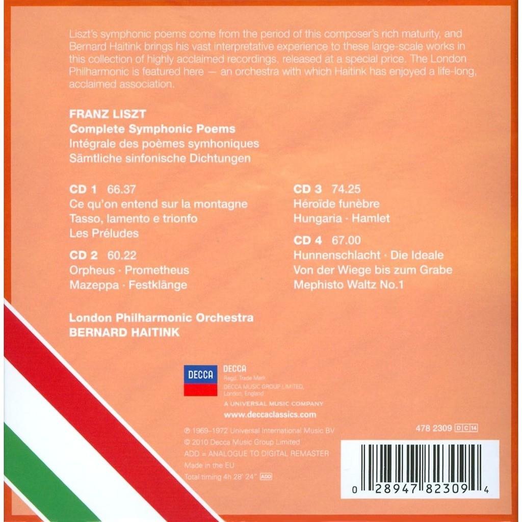 Complete Symphonic Poems Haitink London Philharmonic De Liszt Franz Cd X 4 Chez Melomaan