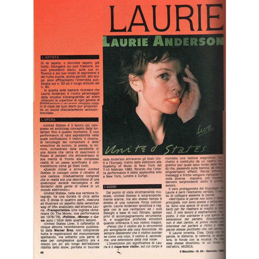 Laurie Anderson Mucchio Selvaggio (N.84 Jan. 1985) (Italian 1985 music magazine!!)