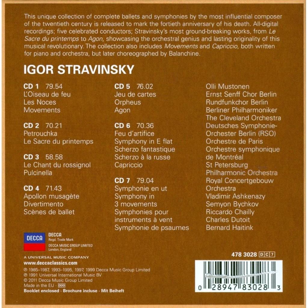 Stravinsky, Igor Complete Ballets & Symphonies / Ashkenazy, Bychkov, Chailly, Dutoit, Haitink, Mustonen, Antonacci