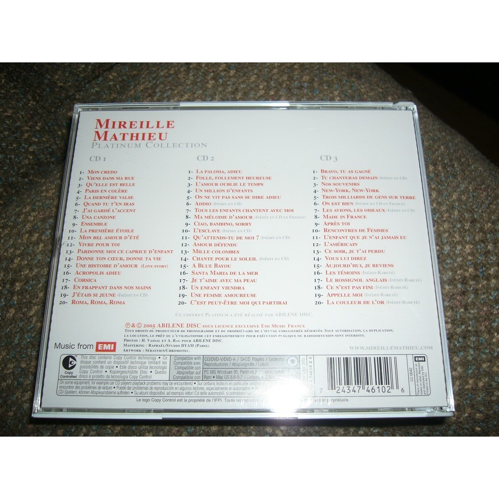 mireille mathieu 3 cd platium collection pressage EU