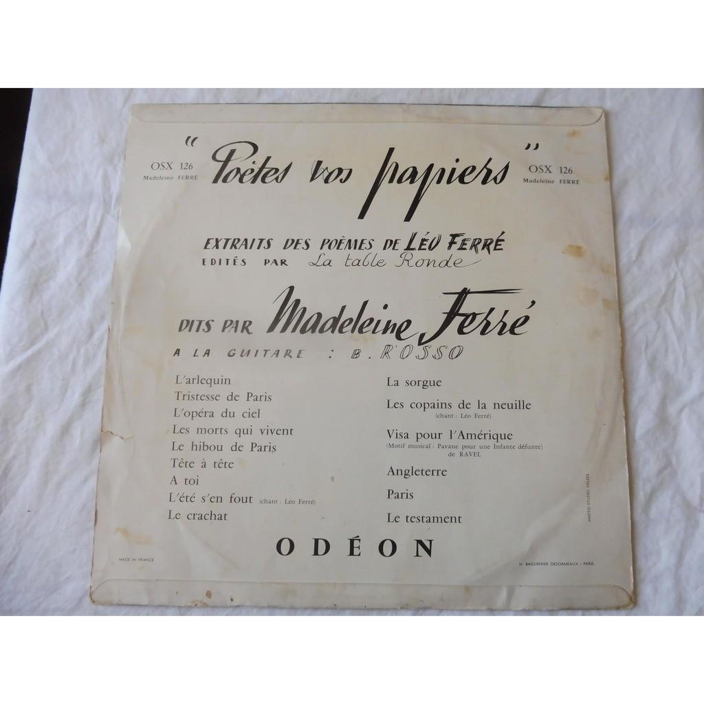 LEO FERRE Poètes vos papiers - extraits des poèmes de Léo Ferré - ( ultra rare odéon