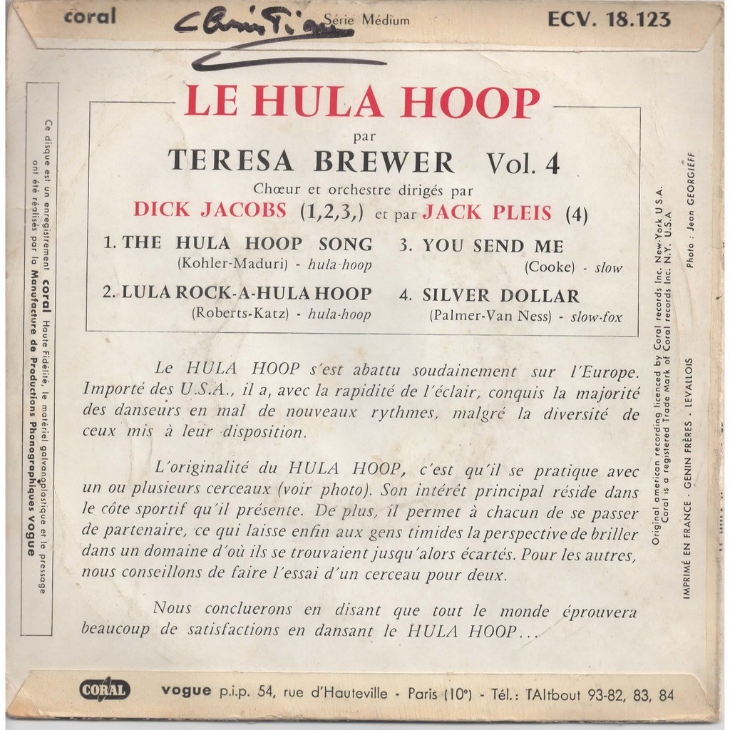 The Hula Hoop Song Lula Rock A You Send Me Silver Dollar By Teresa Brewer Ep With Eric5152 Ref 118767002