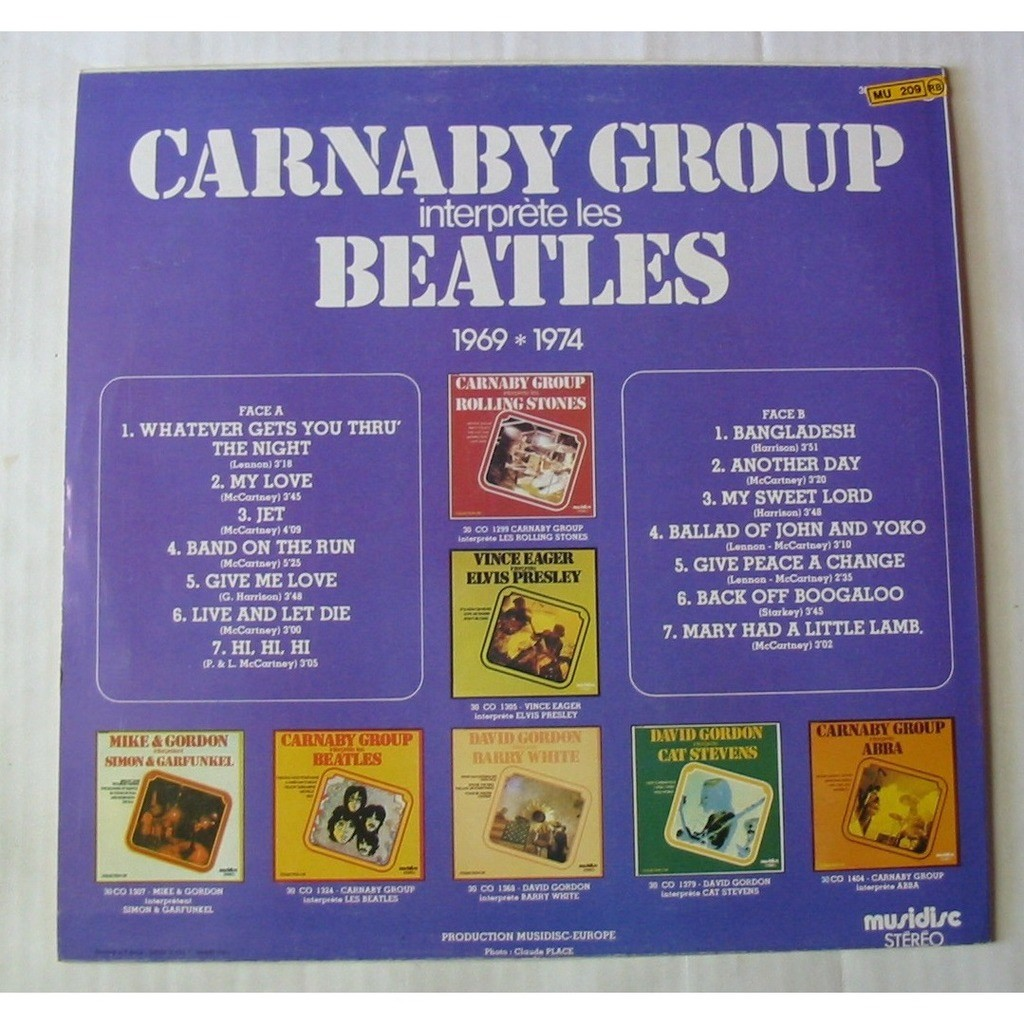 CARNABY GROUP INTERPRETE LES BEATLES 1969 1974