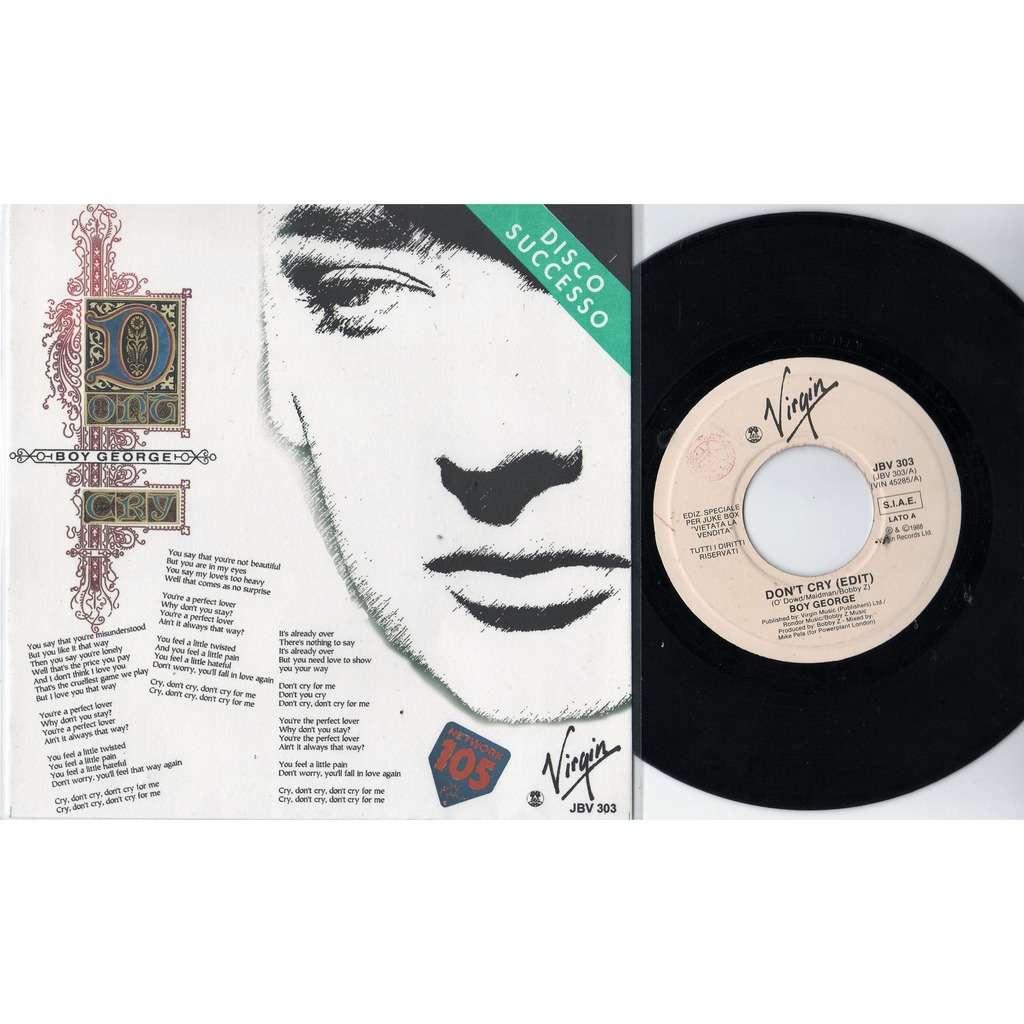 Boy George / Culture Club Don't Cry (Italian 1988 DJ radio 1-trk w/label 7single promo absolutely unique 'SPER' network ps)