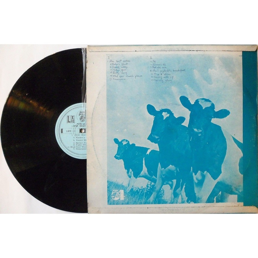 pink floyd Atom Heart Mother (North Korea 1970 original 5-trk LP on Life Stereo lbl unique monocromatic blu ps)
