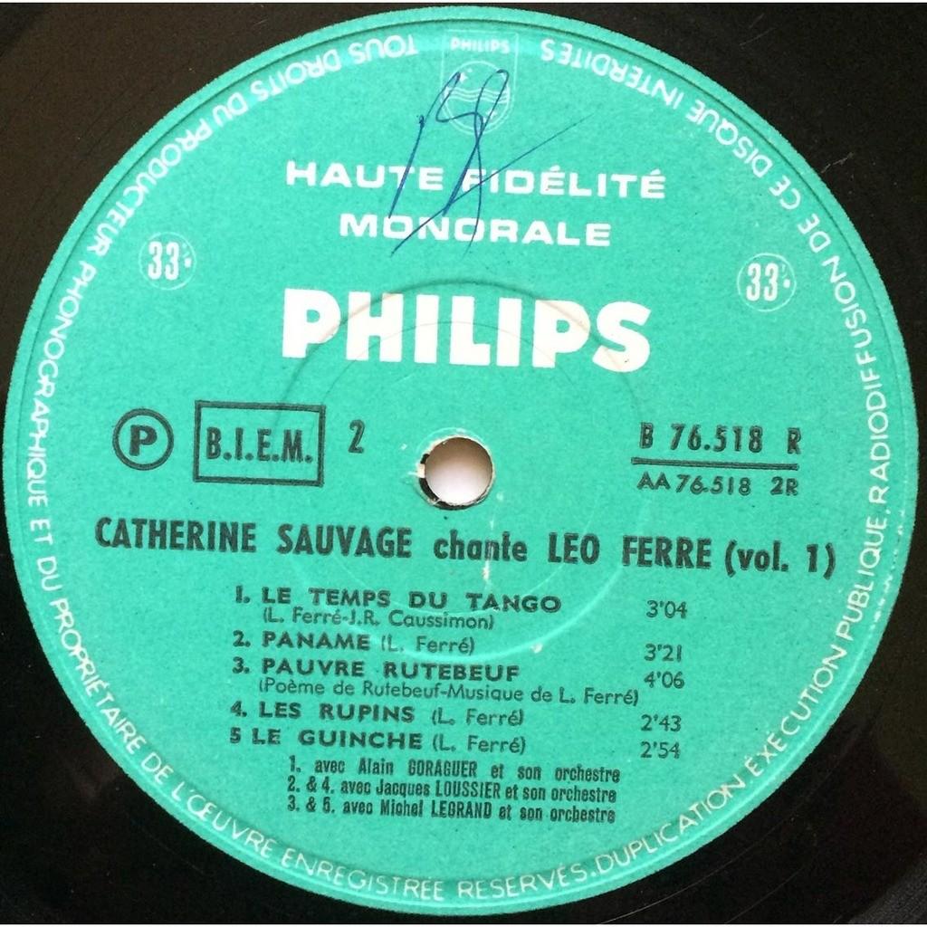 Chante Léo Ferré Volume 1 De Catherine Sauvage 25 Cm Con Sasham67