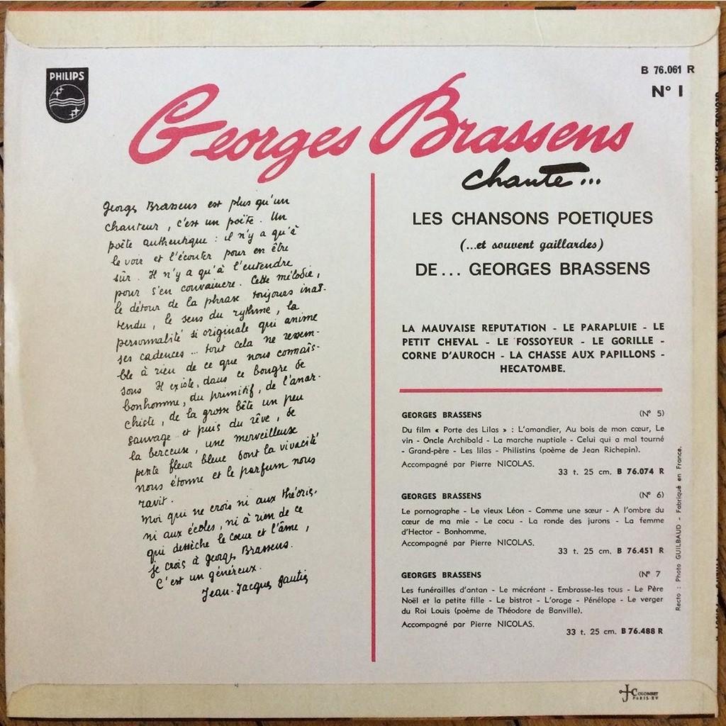 N1 Georges Brassens Chante Les Chansons Poétiques Et Souvent Gaillardes De Georges Brassens 25 Cm Con Sasham67