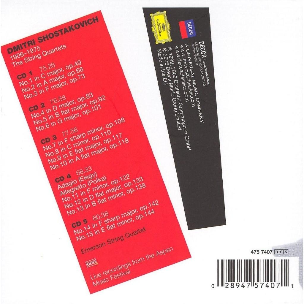 The string quartets / emerson string quartet de Shostakovich, Dmitri, CD x  5 chez melomaan