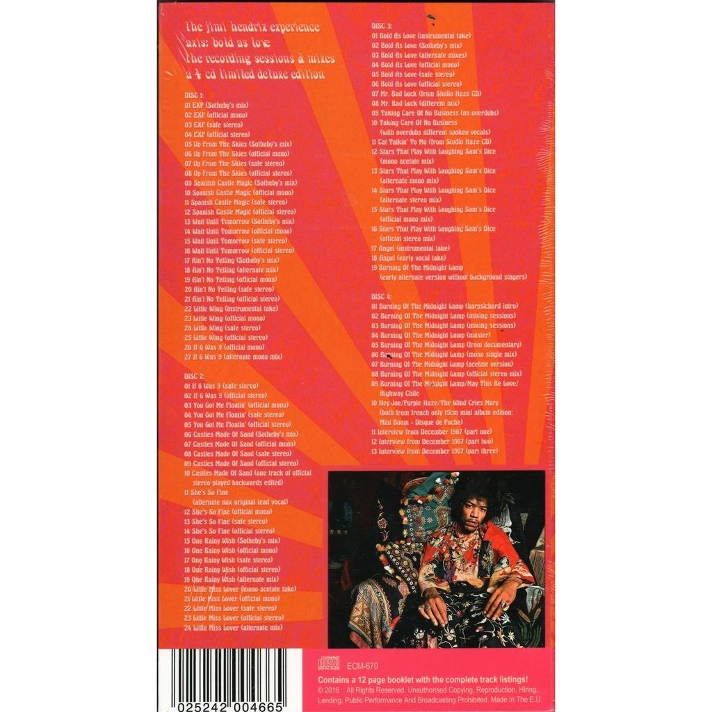 jimi hendrix Axis: Bold As Love (The Recording Sessions & Mixes) (Euro Ltd 300 No'd copies 4CD box+booklet!!)