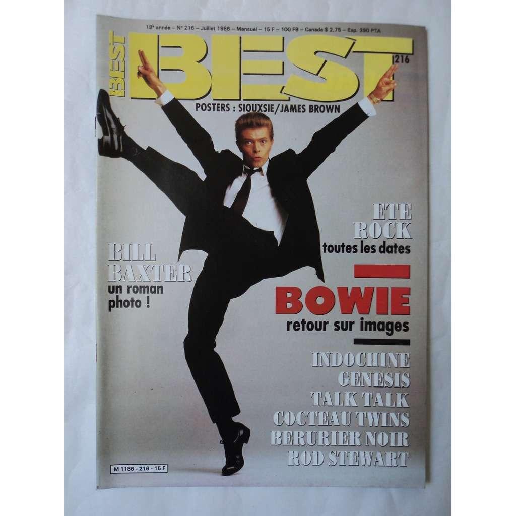 BEST N° 216 / DAVID BOWIE .. BEST N° 216 . JUILLET 1986 avec poster james brown /siouxsie
