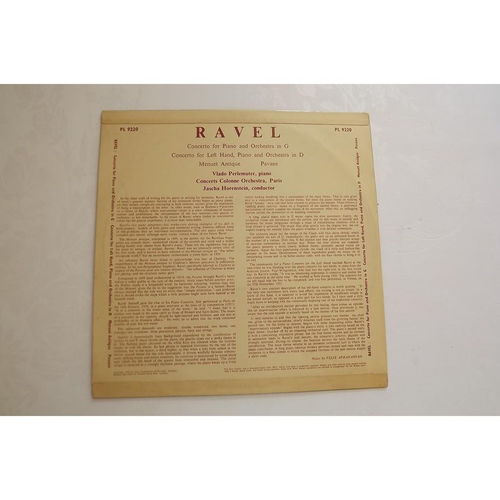 RAVEL VLADO PERLEMUTER JASCHA HORENSTEIN CONCERTO FOR PIANO AND ORCHESTRA IN G