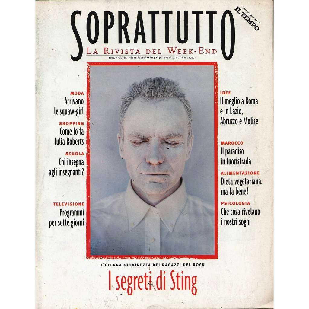 Police / Sting Soprattutto (N.39 Oct. 1999) (Italian 1999 Sting front cover magazine!!)
