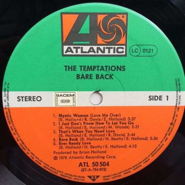 TEMPTATIONS (The) Bare Back (original Europa press - Cover printed in Germany - Record made in France - 1978)